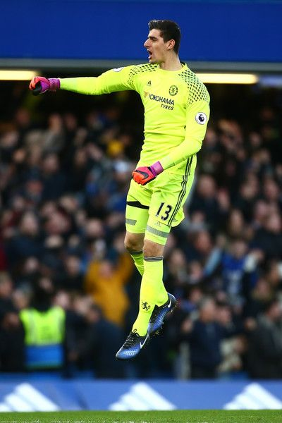 Thibaut Courtois of Chelsea celebrates after Chelsea score their first goal during the Premier League match between Chelsea and AFC Bournemouth at Stamford Bridge on December 26, 2016 in London, England.