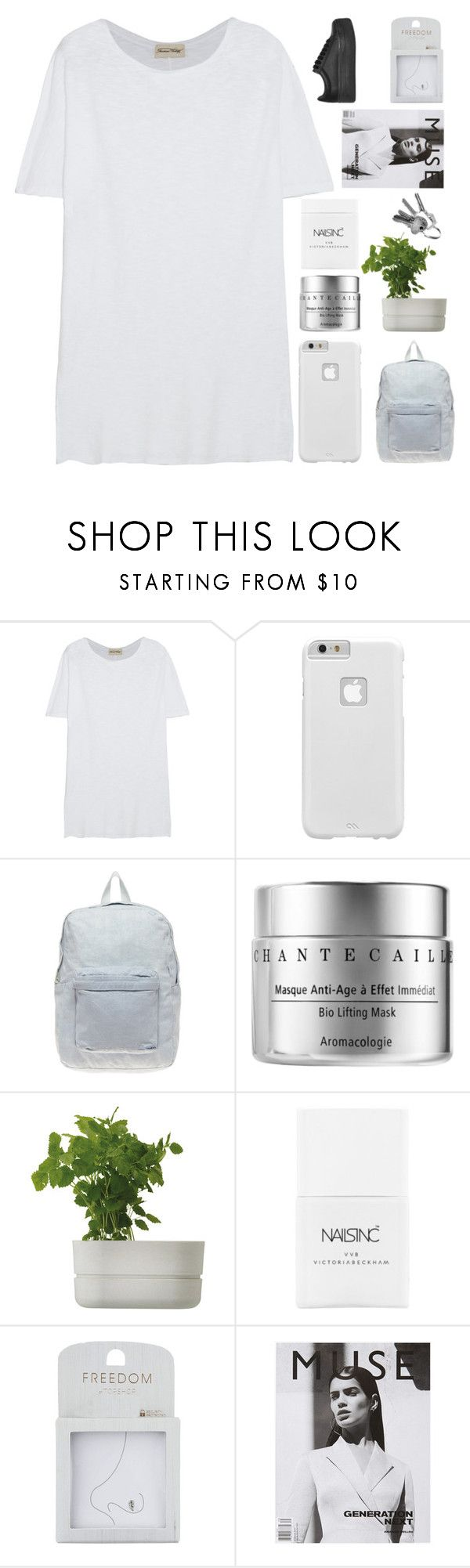 """""""KISS LIKE IT'S A LIE"""" by constellation-s ❤ liked on Polyvore featuring American Vintage, Case-Mate, American Apparel, Chantecaille, Rig-Tig by Stelton, Nails Inc., Topshop and Jeffrey Campbell"""
