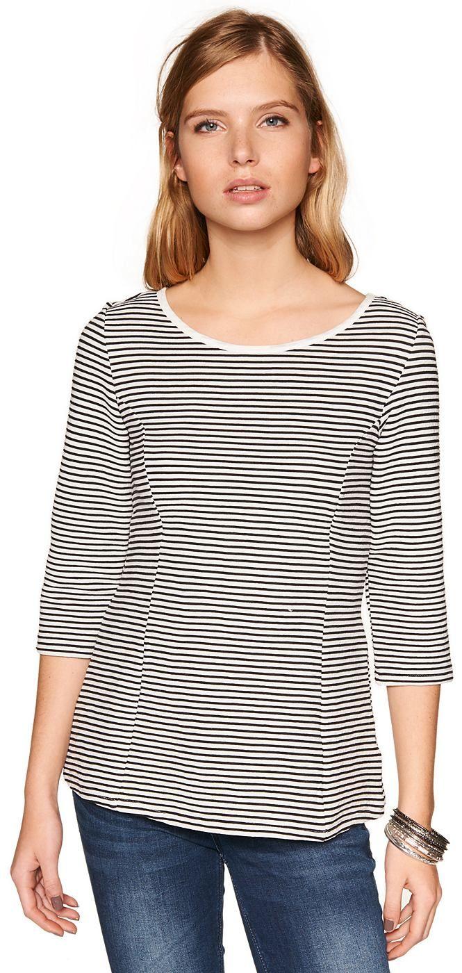 3/4 Arm T-Shirt mit Schößchen für Frauen (gestreift, 3/4 Arm mit Rundhalsausschnitt und V-Öffnung) , mit abgenähtem Peplum von der Taille abwärts, fein gestreift. Material: 69 % Polyester 31 % Baumwolle...