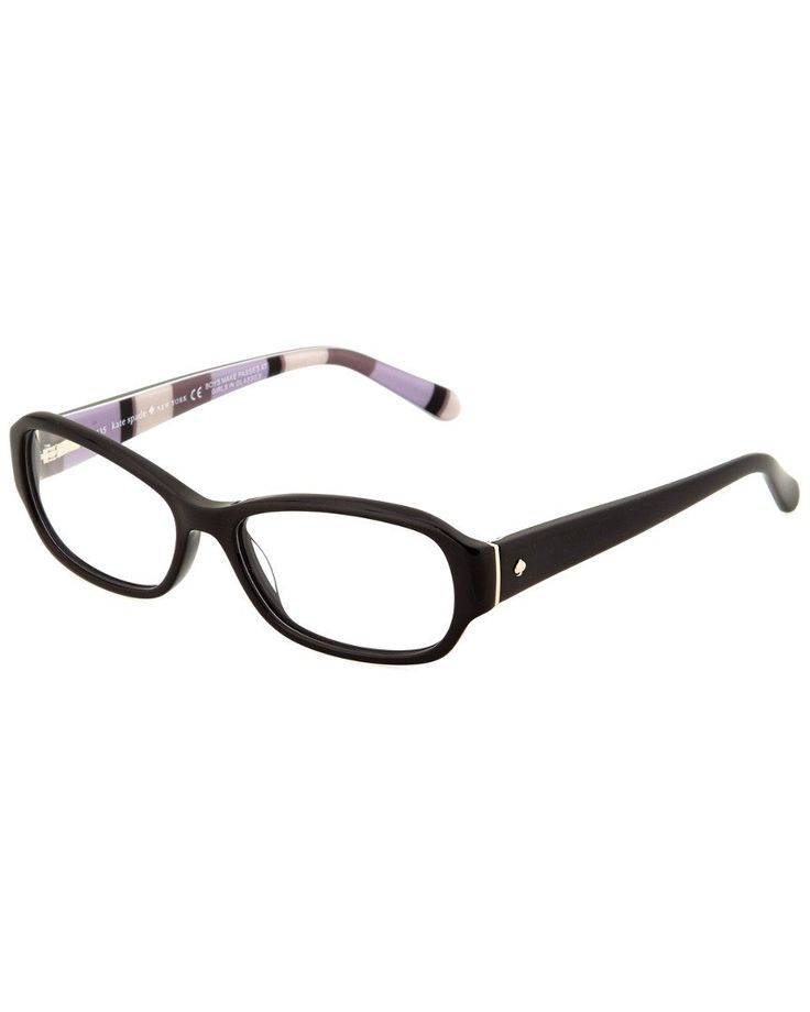 Kate Spade New York Womens Women's Karly Optical Frames. Please note: This is an optical frame with a demo lens. Frames can be filled with prescription lensesby an optician. Frame shape: oval. Frame color: black. These frames flatter those with an oval diamond or square shaped face. Logo at temples.