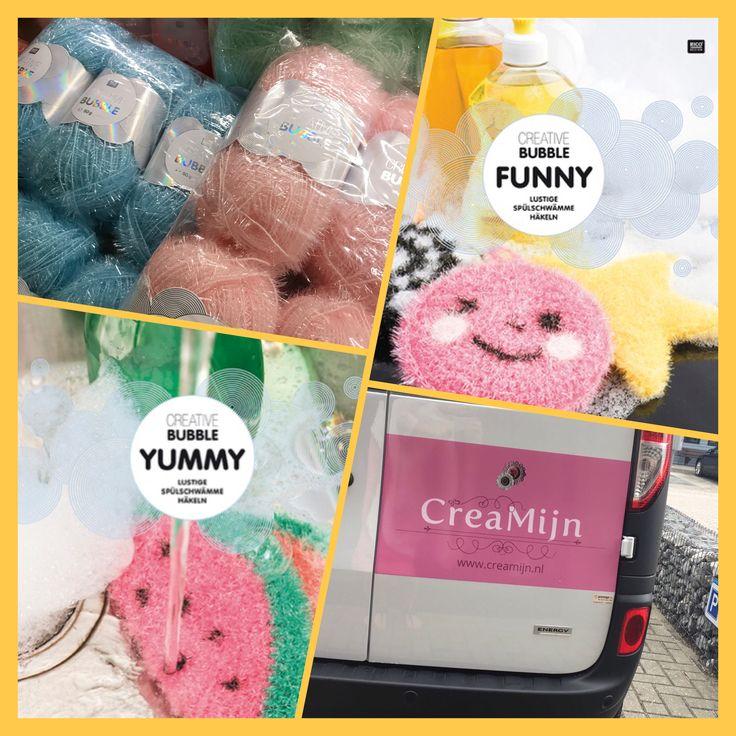 Nu ook het Bubble garen online!  Maak ook een paar handige sponsjes voor op de camping! Ieder zijn eigen sponsje!