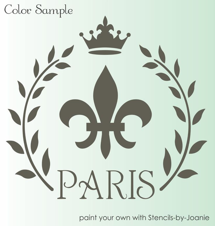 STENCIL Paris French Fleur de lis Royal Crown Laurel Wreath Shabby Cottage signs…