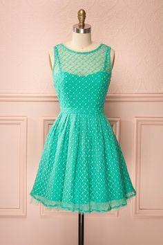 Go all turquoise with this cute dress because tulle and embroidery are as romantic as poetry!