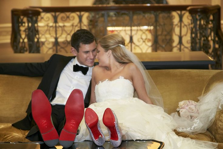 The bride and groom both paired their wedding-day attire with Christian Louboutin shoes, showing off the famous red-lacquered soles. #groomfashion #Louboutinshoes Photography: KingenSmith. Read More: www.insidewedding...