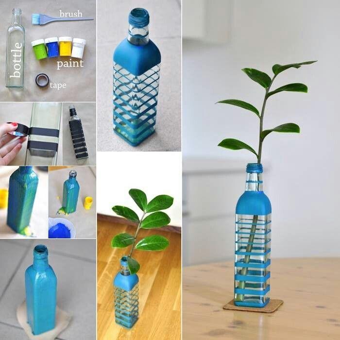Upcycled bottle to flower vase DIY 103