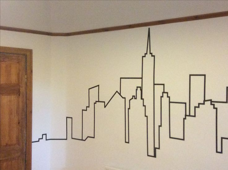 NYC skyline using washi tape.                                                                                                                                                     More