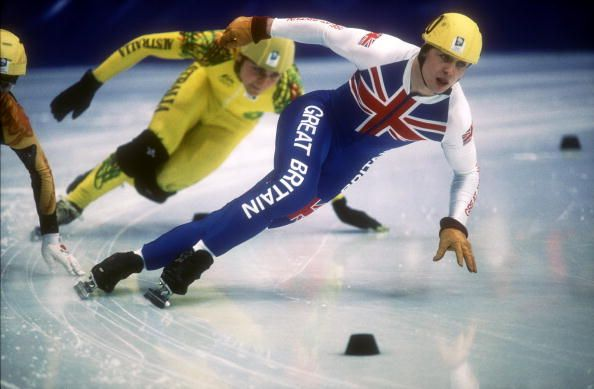 Team GB's Nicky Gooch in action at the 500m short track speed skating at the 1994 Lillehammer Winter Olympics.