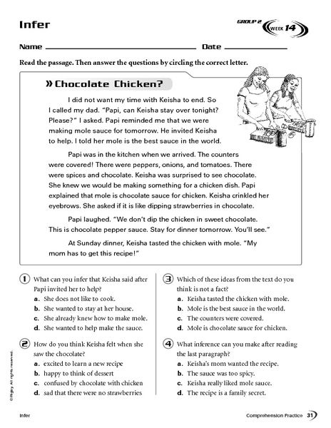 Infer Chocolate Chicken Worksheet Lesson Planet School