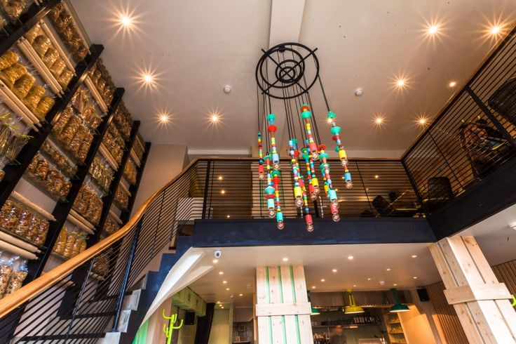Nice colorful chandelier made from wood and metal for the italian restaurant in Moscow. Design @Irinakrivtsova @tanyaredina   #colour #wood #metall #chandelier