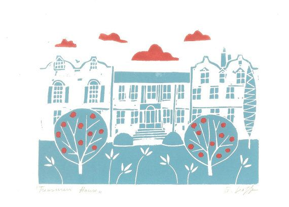 Treasurers House, York Linocut Print - Yorkshire UK -  Hand Printed Original Lino Print ,Black / Duck Egg Blue, Architecture - Contemporary