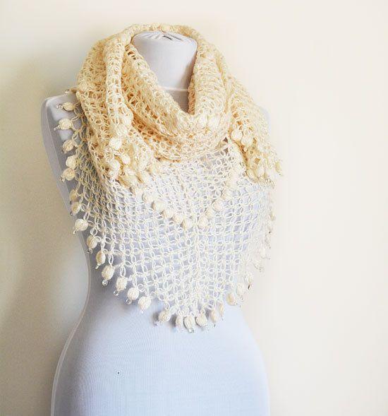 Ivory Crochet Shawl Scarf Handmade Shawl scarf by ElegantScarff, $77.00