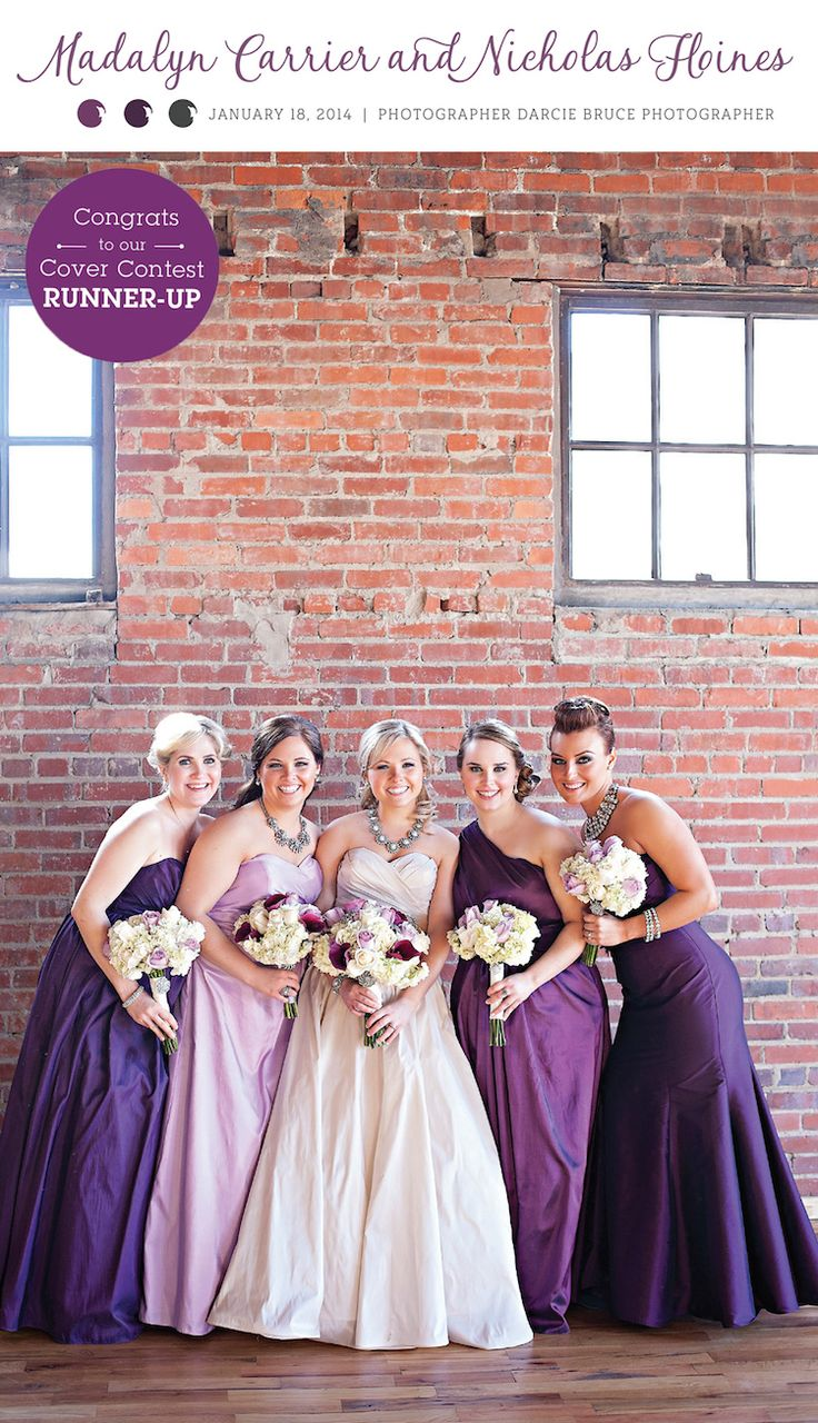 Love these purple bridesmaid gowns! See more from this fun winter wedding in Knoxville with plum and lavender details, captured by @dbrucephoto! | The Pink Bride www.thepinkbride.com