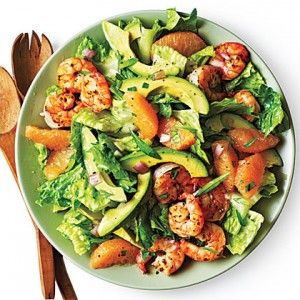 Shrimp, Avocado, and Grapefruit Salad...only we make it with oranges instead of grapefruit.  Fantastic summer meal