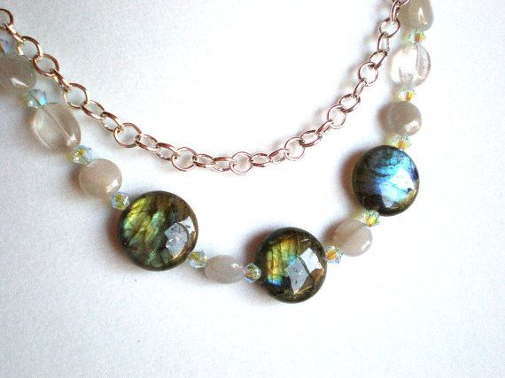 Labradorite necklace with silver chain  wire by IvoryCatCreations, $38.00