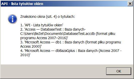"""10. • Funkcje #API - tytuły okien otwartych instancji MS #Access Informacja typu: """"Otwarto 2 instancje MS Access"""" jest niewystarczająca.  Więcej informacji znajduje się na pasku tytułowym okna MS Access. Uchwyt okna głównego MS Access można pobrać za pomocą funkcji API #FindWindowEx - zwracającą uchwyt okna potomnego, którego nazwa klasy, albo (i) tytuł odpowiada przekazanym argumentom. Tytuł okna odczytamy za pomocą własnej funkcji #GetTextWindow zwracającą tekst (tytuł) okna uchwycie #hwnd…"""