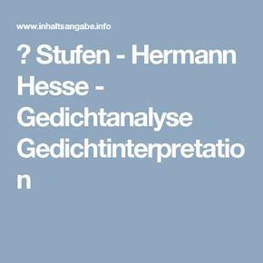 ᐅ Stufen - Hermann Hesse - Gedichtanalyse Gedichtinterpretation