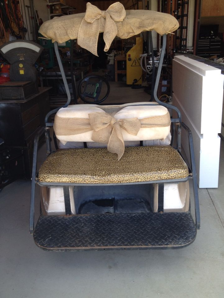 Golf cart seat was torn, so I repurposed baby mattress pad