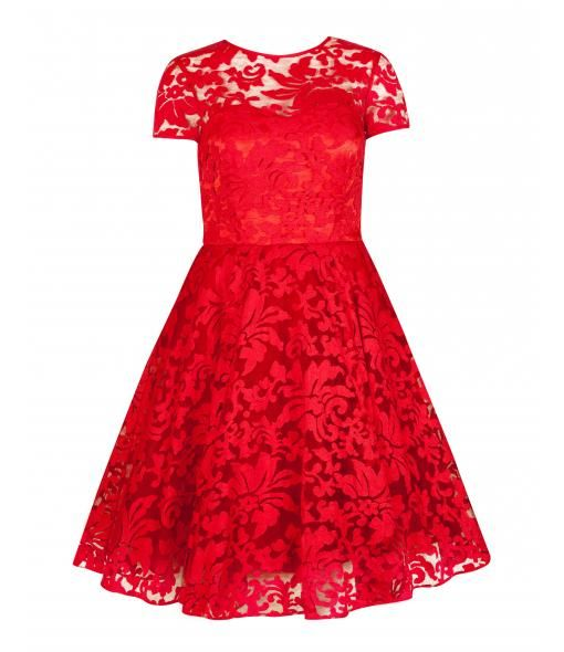 // Caree sheer floral overlay dress, Red