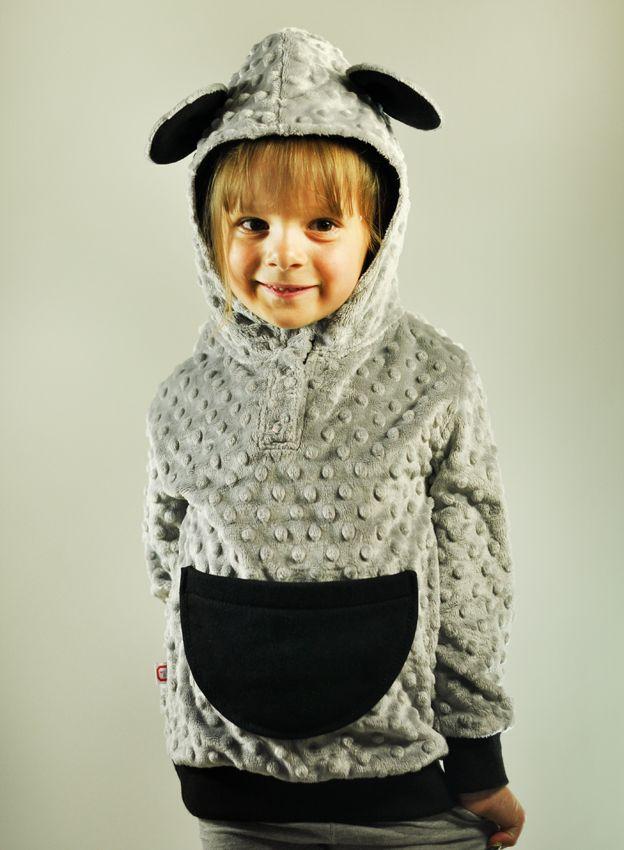 #Bluza z kapturem #dla_dziewczynki. Wykonana z mięciutkiego polaru #Minky Miś, Samodobro