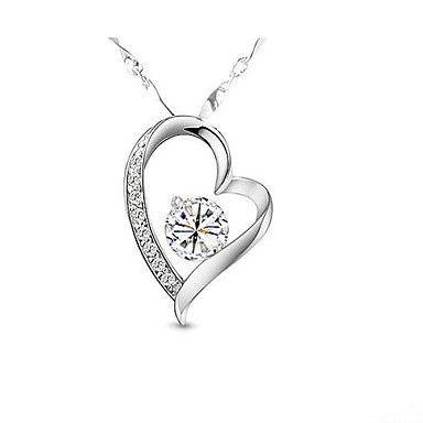 Sølv hjerte øredobber og halskjede smykker Set – NOK kr. 57