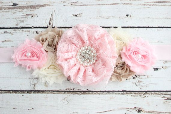 Pink Ivory Maternity Sash  Pink Pregnancy Belt  by simplycutieful