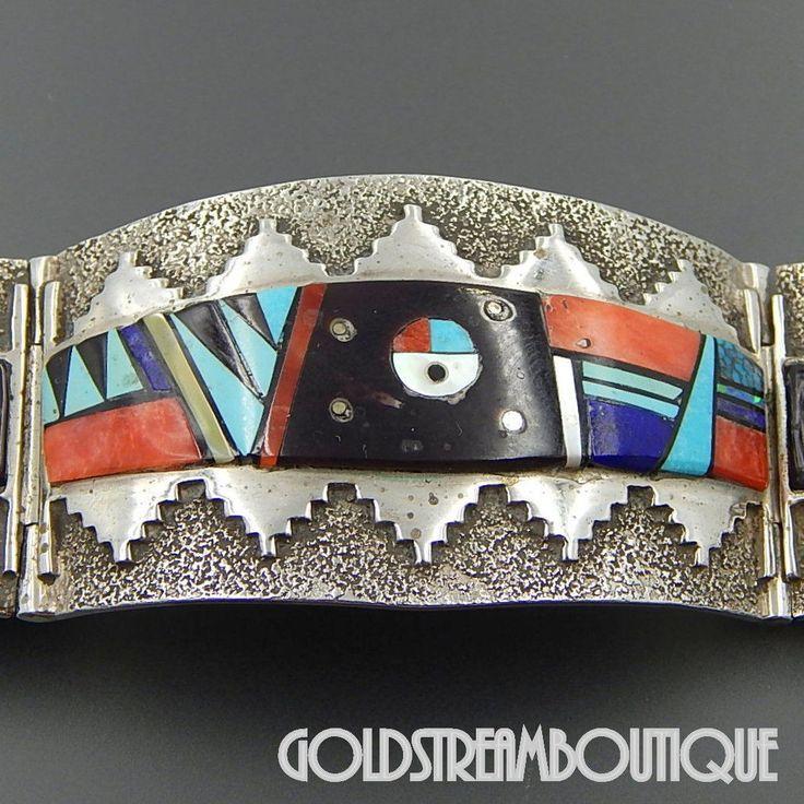 Native American Germaine Smith Navajo Sterling Silver Gemstone Mosaic Inlay Sun God Panel Bracelet