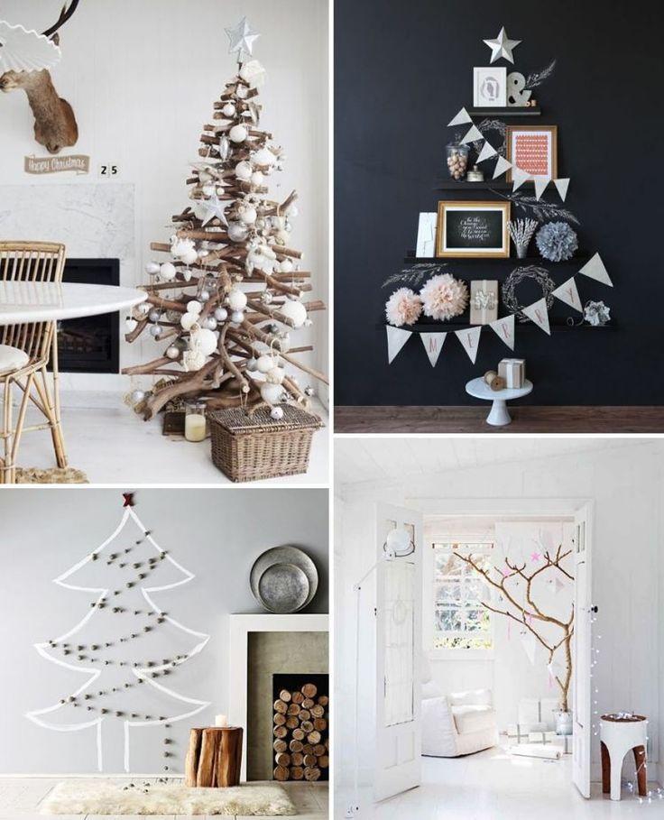 sapins de Noél décoratifs en bois flotté/guirlandes de pompons/guirlande de fanions, pompons en papier de soie/branches