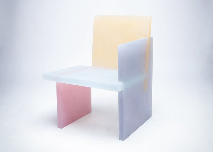 South Korean designer Wonmin Park constructed these chairs and tables from slabs of coloured resin . The resin was coloured with pigment and cast in separate moulds before being joined together. The translucent nature of the resin allows the colour of each element to show through along the joins.