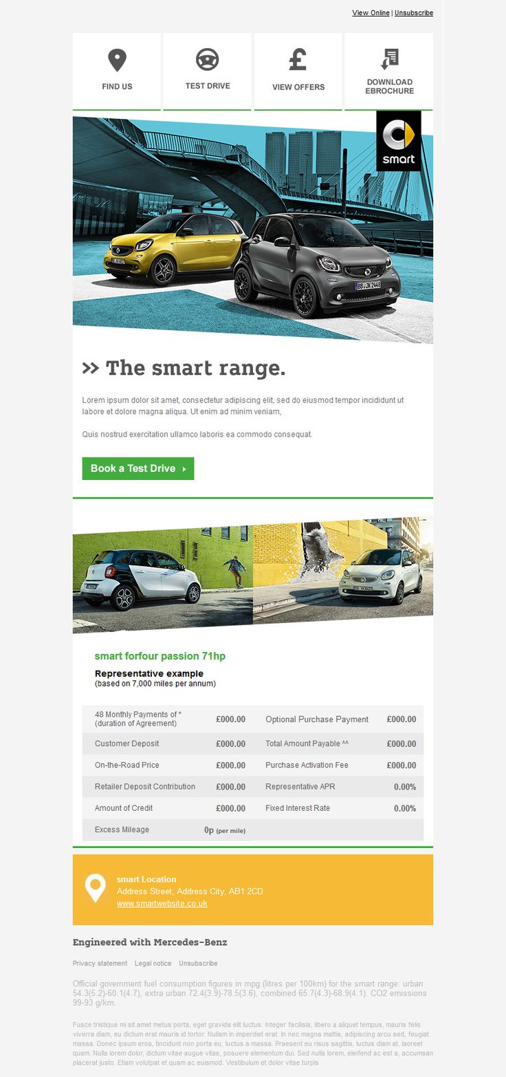 The email is design for Smart Mercedes-Benz Retail Group
