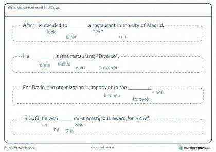 Ficha de elegir la palabra correcta en inglés para primaria