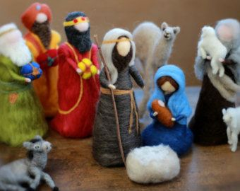 Complete Nativity Set, Needle felted, Traditional, Waldorf,Large Pieces, Hand Crafted, Holy Family,Jesus,Mary,Joseph,Shepherd,Sheep,Wise Men