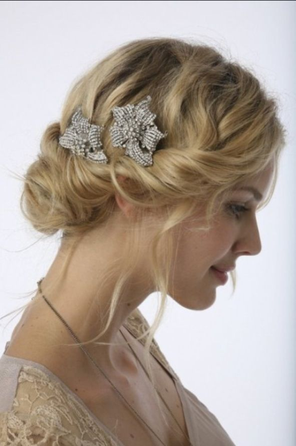 Soft Wavy Updo Boho Chic Bridal Hair