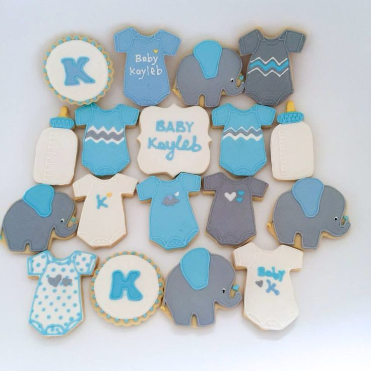Baby boy shower cookies - onesies & elephant themed party