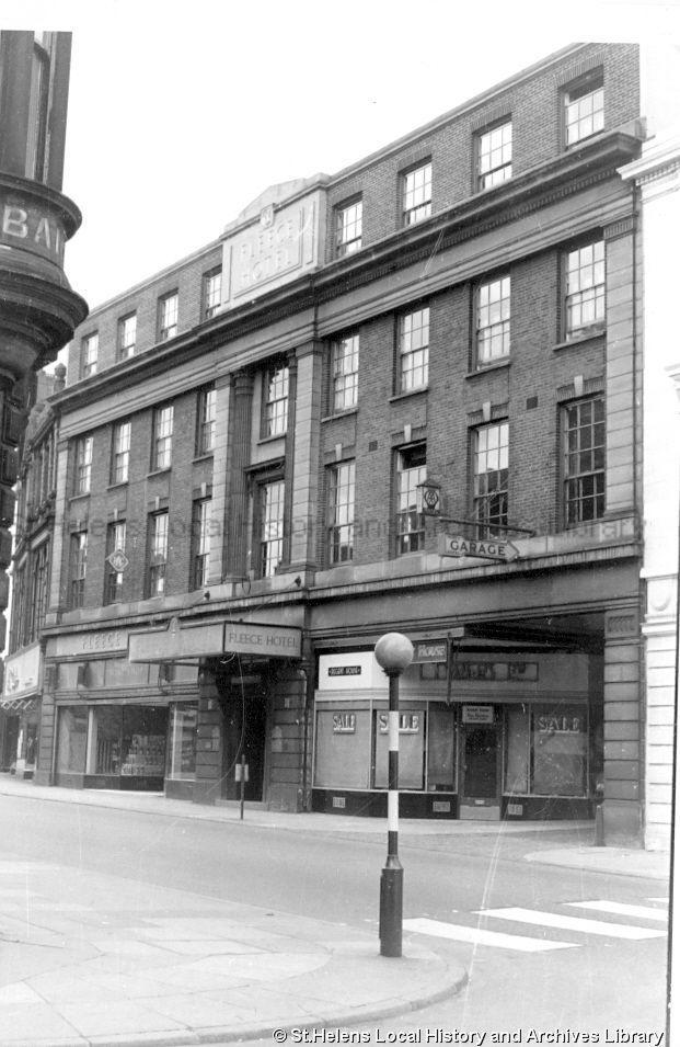 MSE/2/1/14 Black and white photograph showing the 'Fleece Hotel', Church Street, St.Helens c,.1960 MSE - The Frank Sheen Collection 2 - Photographs showing various buildings, events and housing in St.Helens. 1 - Photographs showing public houses in the St.Helens area.
