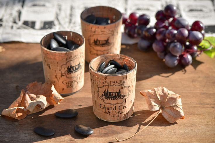 GRAND CRU decoration de table Santex  // Photophore viticole Ref 5273 // #Grandcru #decorationviticole #decorationdetable #decodetable #deco #table #fete #decodetableviticole #bouteille #vin #chateau #vendanges #vigne #bouchon #assiette #gobelet #serviette #raison #liege #santex #photophore #photophore viticole