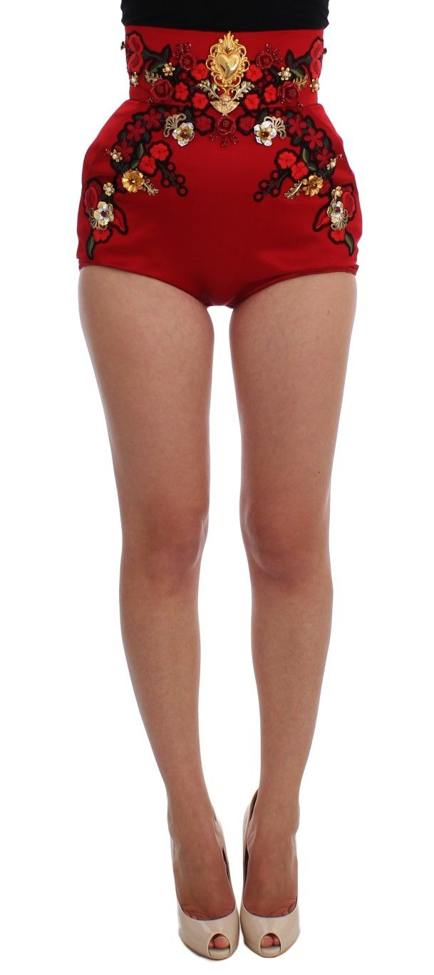 Red Silk Crystal Roses Gold Shorts