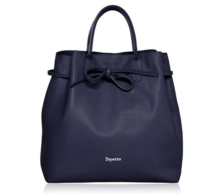 "Large Shopping Bag ""Arabesque"". Classic blue Paris calfskin. #Repetto #RepettoBags #Blue #Classic #DarkBlue #RepettoArabesque"