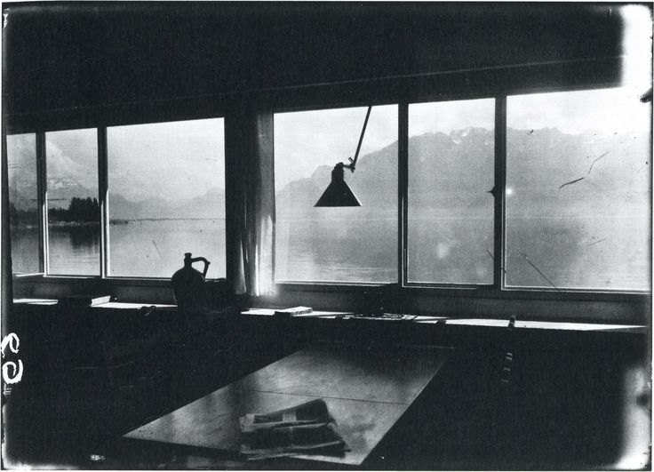 """Le Corbusier, Untitled Photograph of the Interior of his """"Villa Le Lac"""", Looking out Toward Lake Geneva and the Swiss Alps, (1925)"""