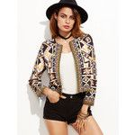 SheIn(sheinside) Multicolor Geo Print Blazer With Embroidered Tape Detail