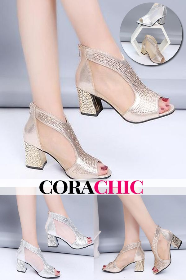 52c9e2224 Hot Sale Women Bling 7cm High Heels Diamond Square Heel Sandals. Summer  must-have