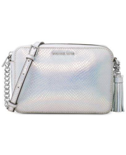 1d42f4d4fdae67 Michael Kors MK Ginny Medium Camera Bag Crossbody Rainbow Silver NWT ...