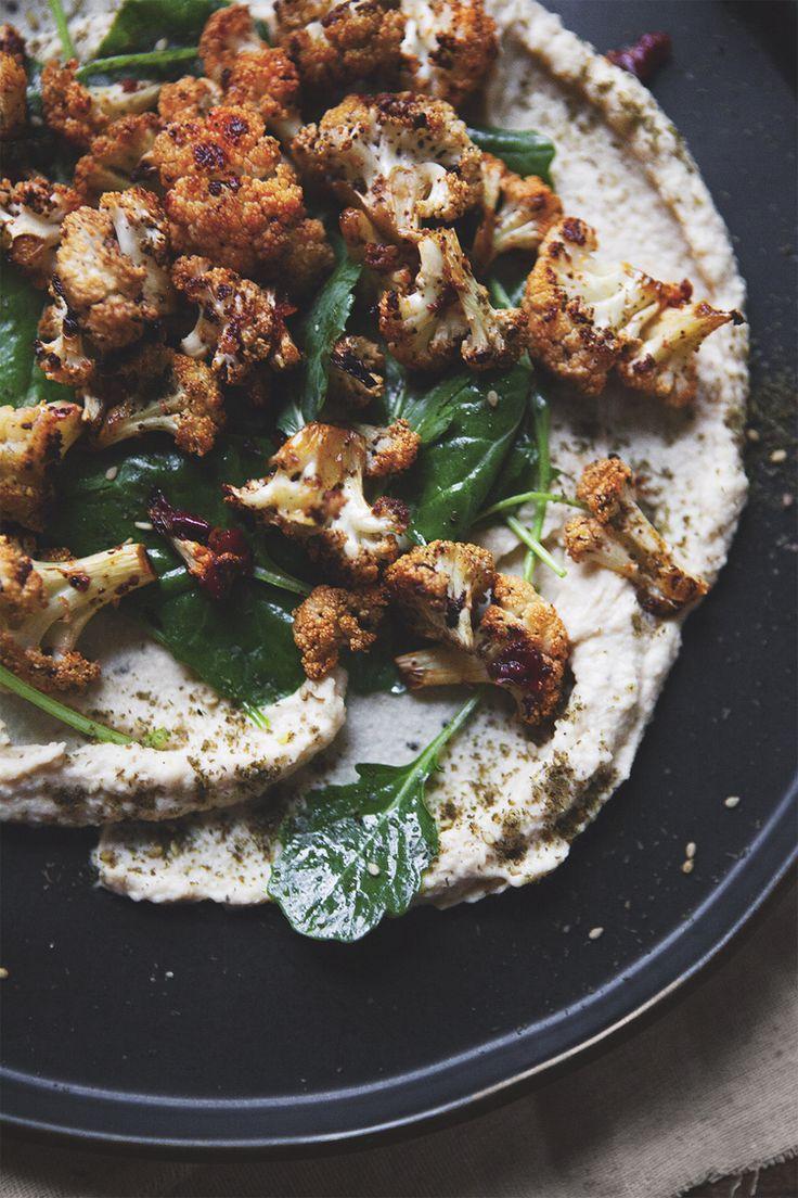 Turkish Hummus Plate with Harissa Roasted Cauliflower and Baby Kale Greens