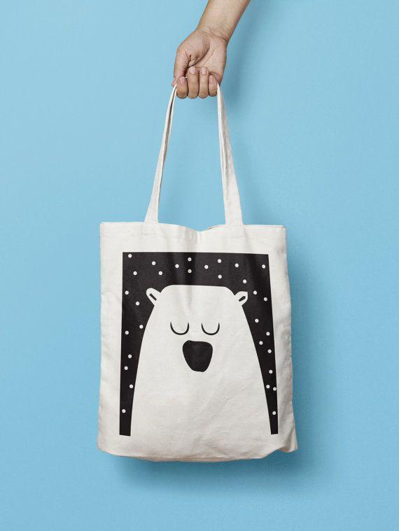 Llevar lona totalizador bolsa - bolsa impresa - bolsa de lona grande bolso - bolso de totalizador del algodón - mercado - oso - oso bolsa monocromo Silhoutte