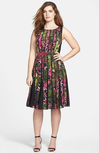 Adrianna Papell Floral Pleated Dress (Plus Size) | Nordstrom. I don't think I will ever get over my adoration of smart florals. This one is pretty terrific but I could do without the pleats.