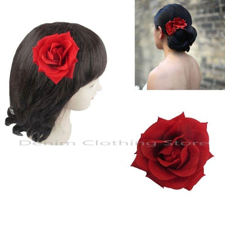 "6pcs Romantic Red Rose Poly Silk Flower Hair Clip Rockabilly Bridal Pin Updo 3"""