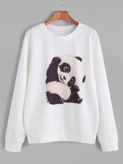 Sudadera con estampado de panda-Sheinside