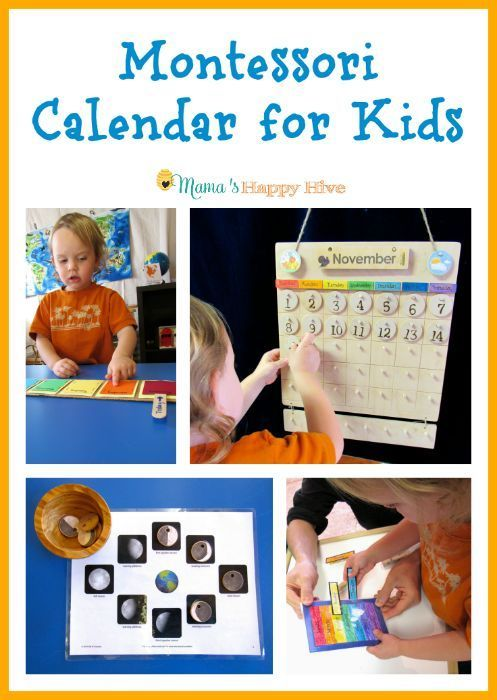 A beautiful hands-on Montessori calendar for kids to learn about the concept of time. Also, included is learning the week, months, seasons, and moon phases. - www.mamashappyhive.com