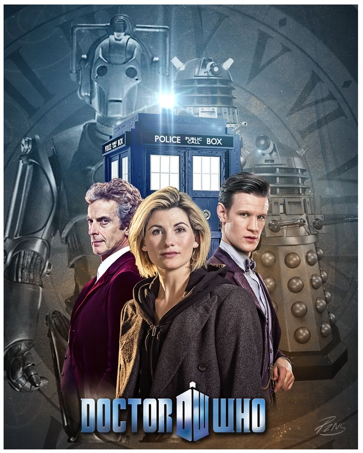 Jodie Whittaker as the 13th Doctor in Doctor Who with Peter Capaldi and Matt Smith.