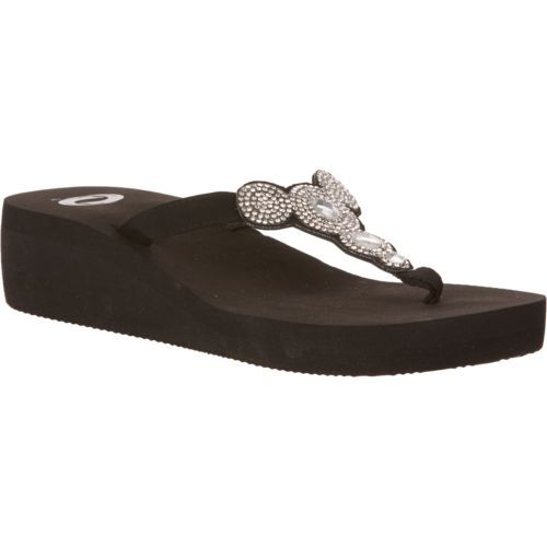 03fd4ecbb976d O Rageous Women s Circle Bling Wedge Flip-Flops - view ...