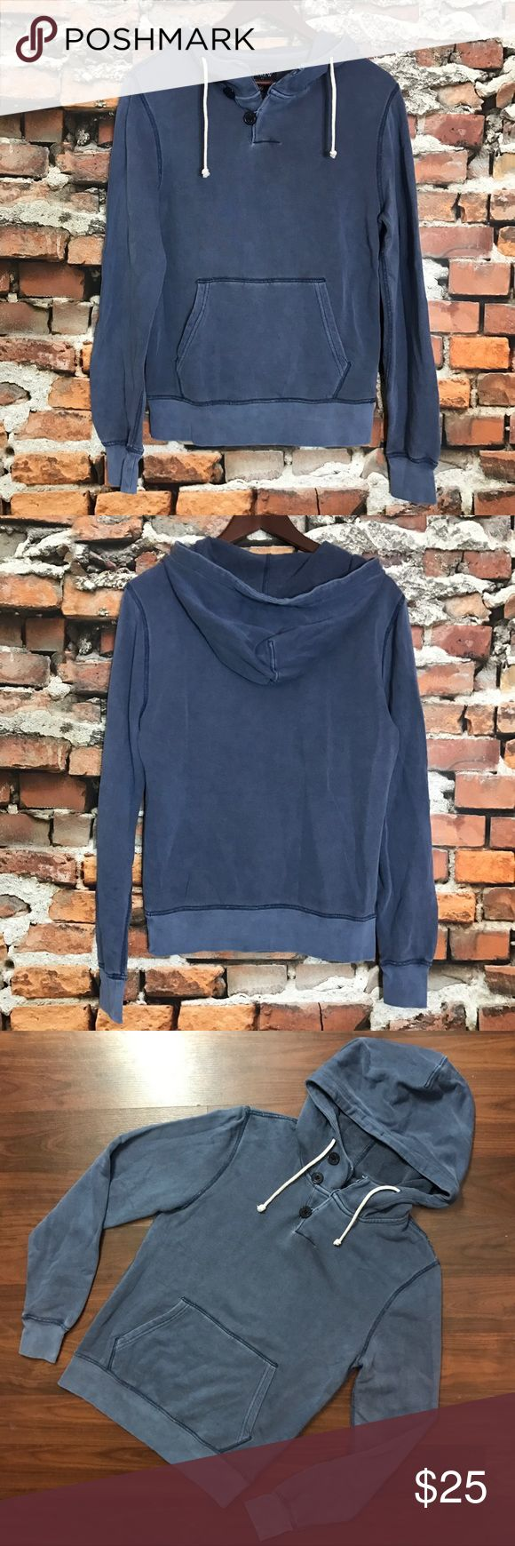 """J Crew Stonewashed Sunwashed Dyed Nautical Hoodie J Crew Blue Stonewashed Sunwashed Garment Dyed Nautical Hoodie Mens XS Womens S  *Excellent Used Condition! Made to look worn.  Measurements: 36"""" Bust 25"""" Length J. Crew Factory Sweaters"""